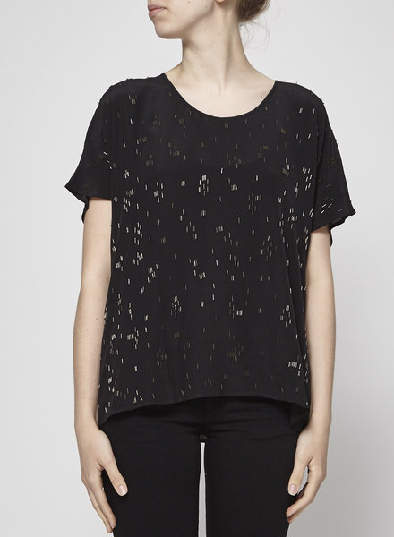 Eileen Fisher BLACK SILK BEADING TOP