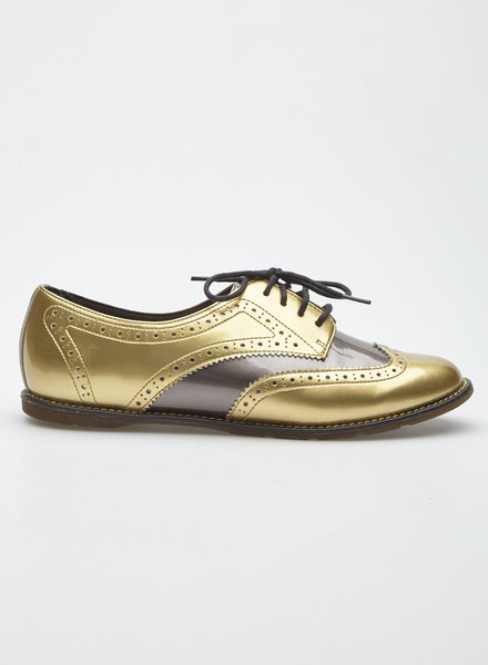 Dr. Martens POLINA GOLD AND BRONZE LEATHER OXFORD SHOES