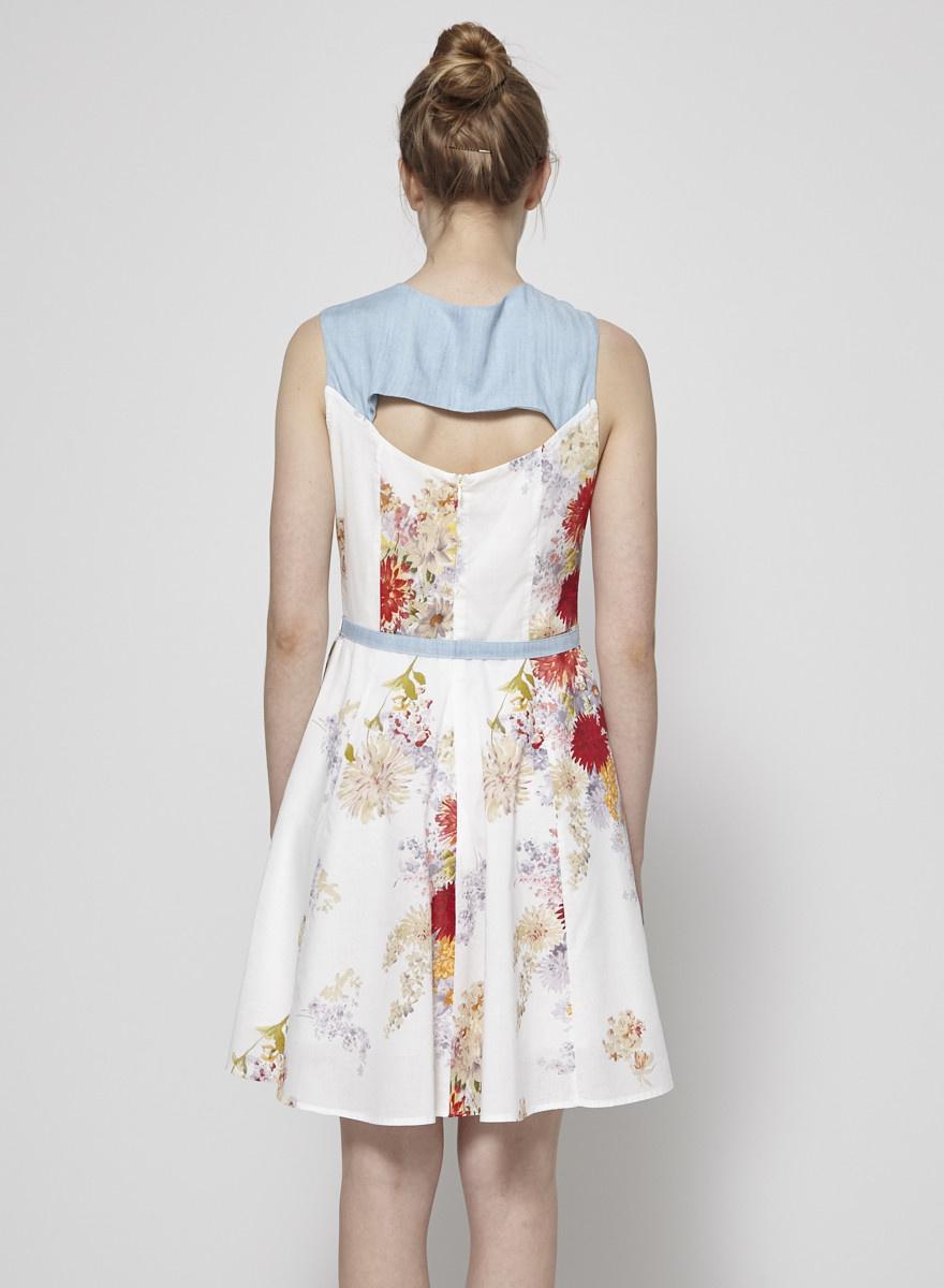 Annie 50 FLOWER-PRINT WHITE & CHAMBRAY DRESS