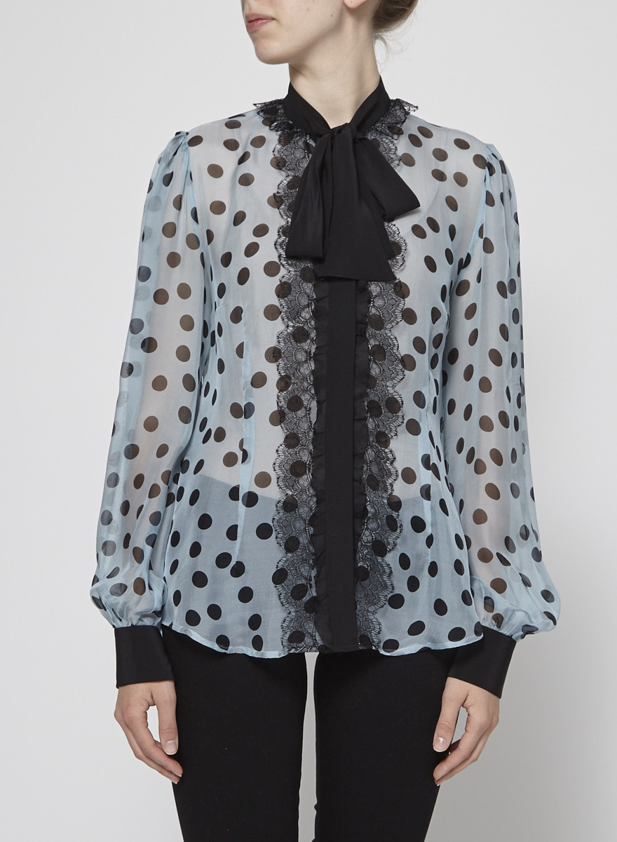 Dolce & Gabbana Blouse en soie à pois et dentelle