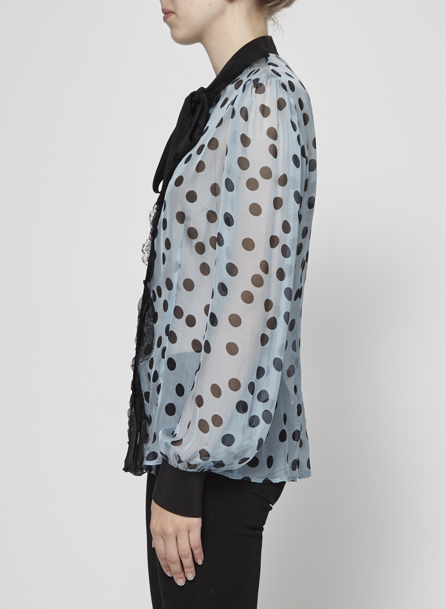 Dolce & Gabbana Polka-Dot and Lace Silk Blouse