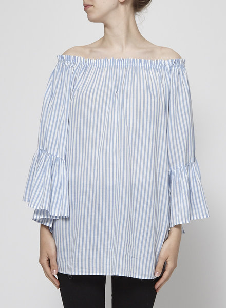 Elan RUFFLE SLEEVE WHITE & BLUE STRIPED TOP - NEW