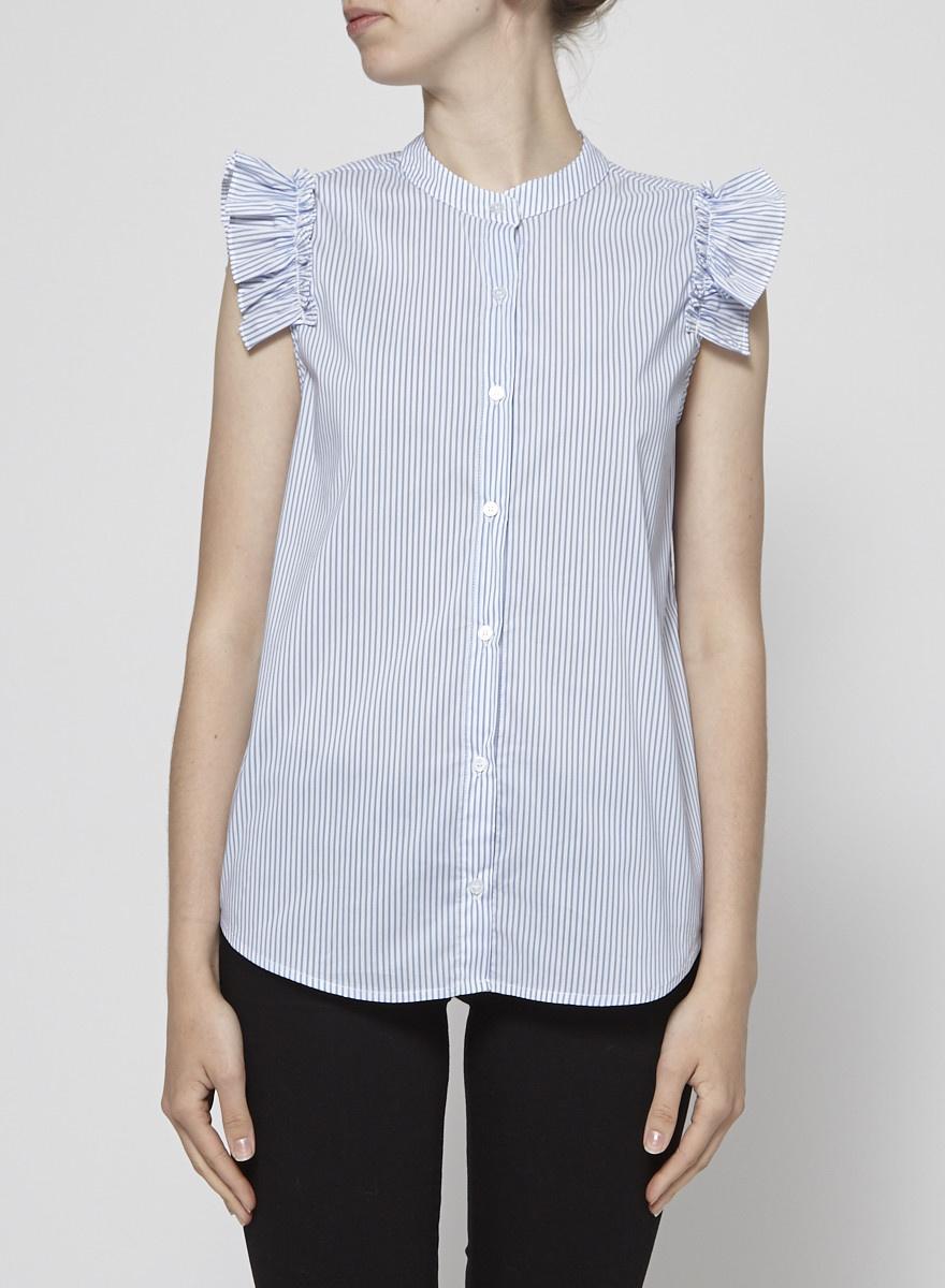 SEN Ruffle Sleeveless Blue & White Striped Shirt - New
