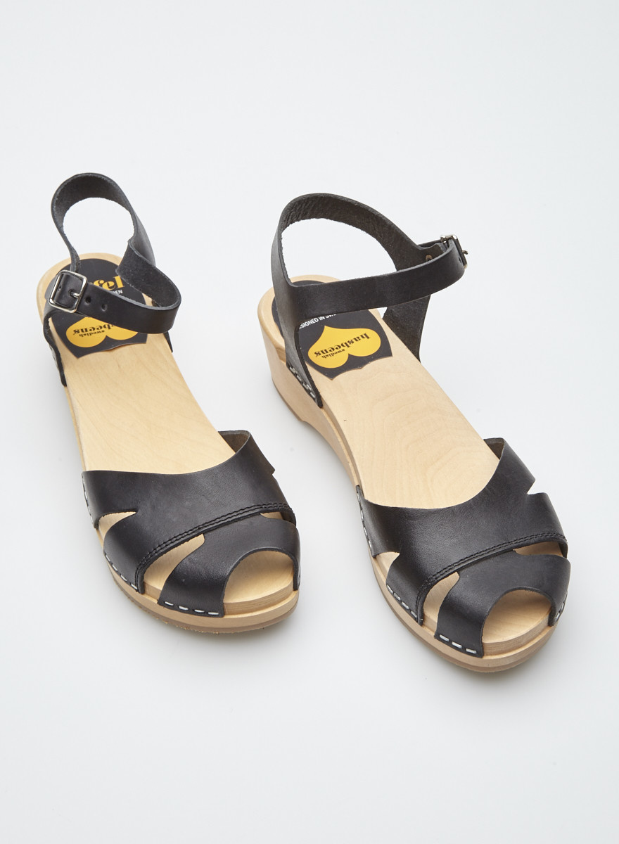 Swedish Hasbeens Suzanne Debutant Black Sandals - New