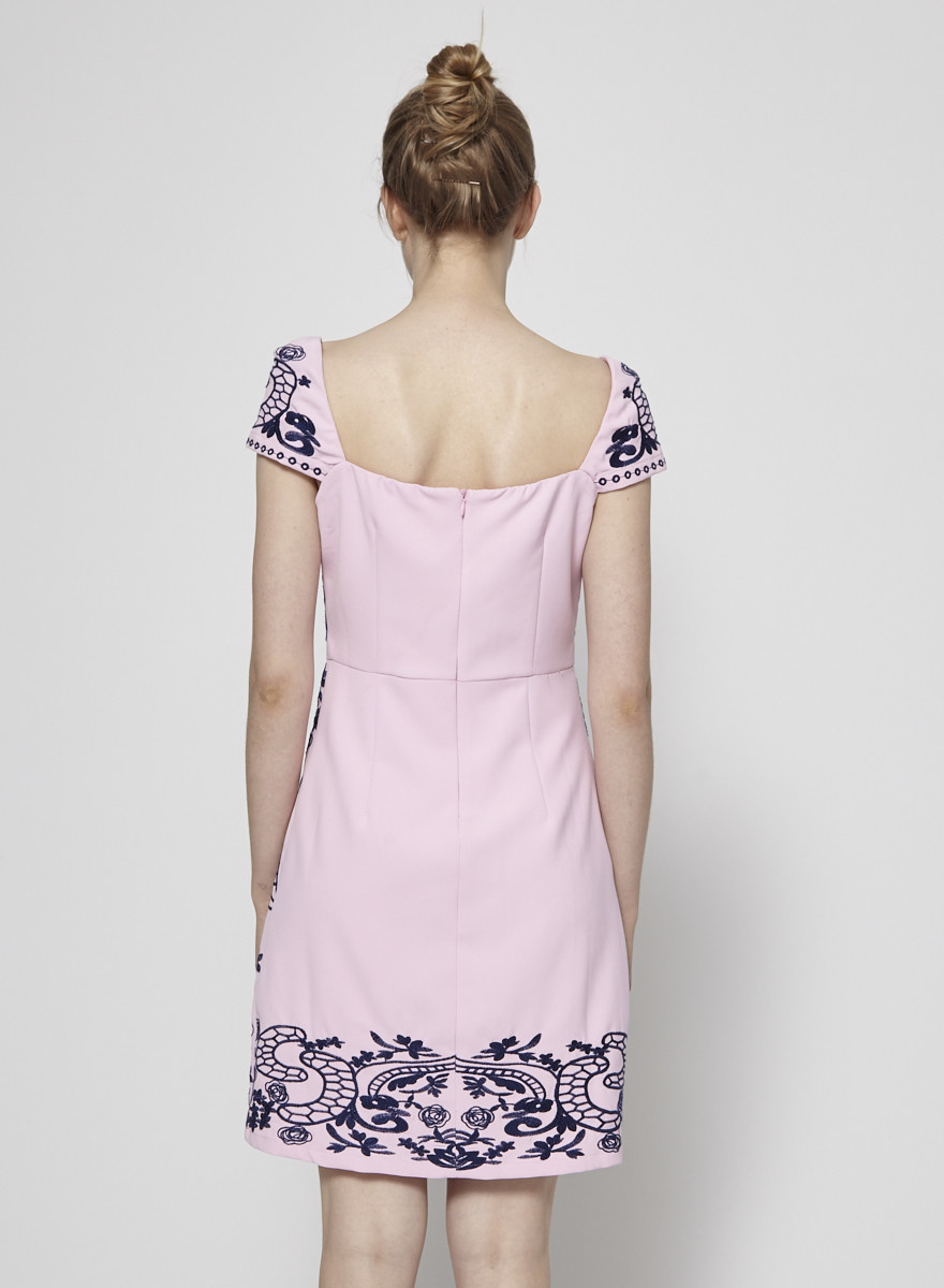 foxiedox SOLDE - ROBE ROSE À BRODERIES MARINES JEANA - NEUF AVEC ÉTIQUETTE