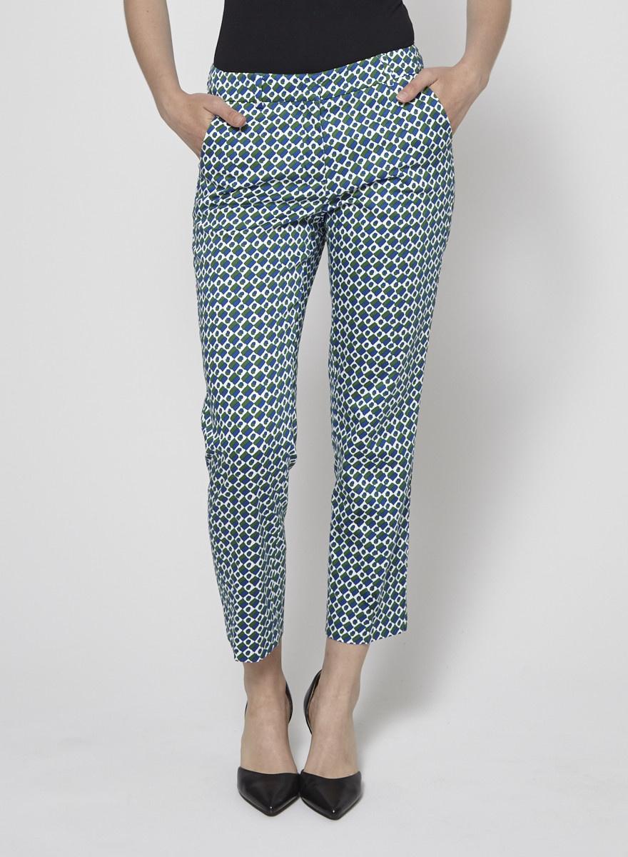 Weekend Max Mara Blue and Green Printed Pants