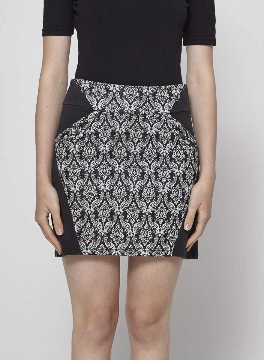 Eve Lavoie Printed Stretch-Cotton Skirt