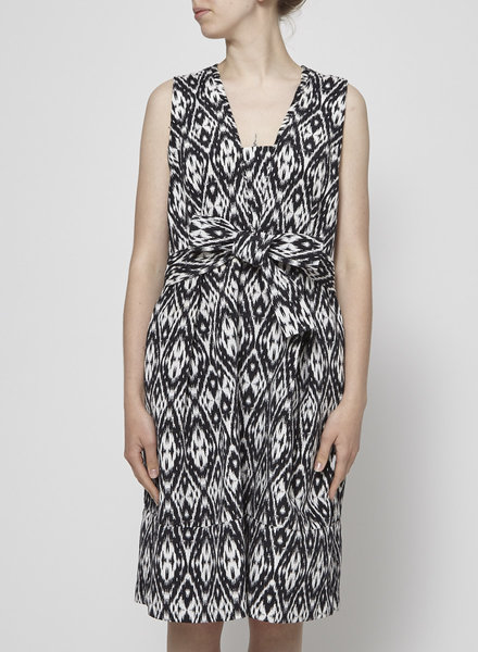 Pink Tartan BLACK AND WHITE TIED WAIST DRESS