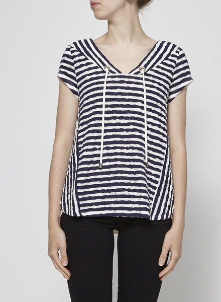 Melissa Nepton CRUMPLED STRIPED T-SHIRT