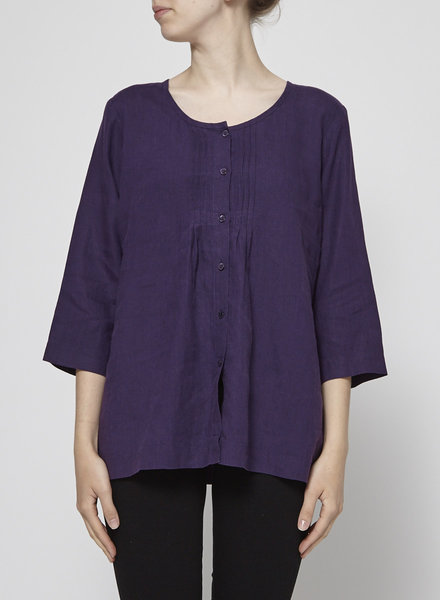 Eileen Fisher PURPLE ORGANIC LINEN BLOUSE