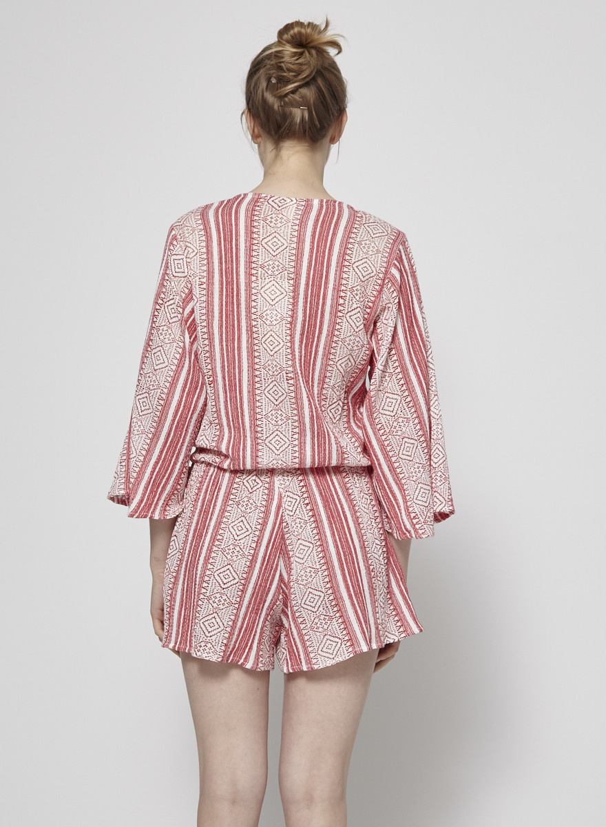 Elan Red and White Romper - New