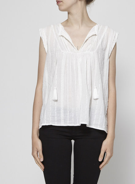 Joie WHITE EMBROIDERED TOP