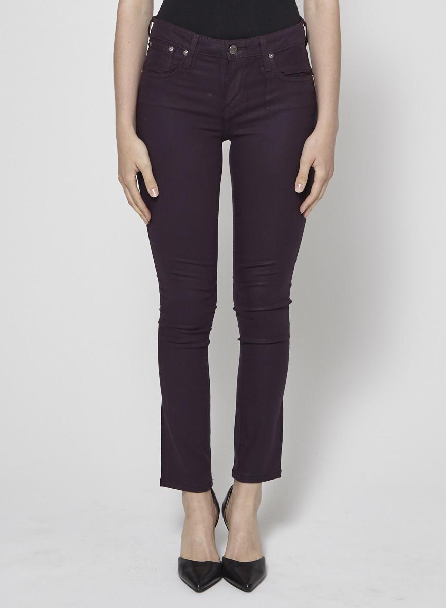 Helmut Lang Jeans skinny bourgogne effet lustré - Neuf
