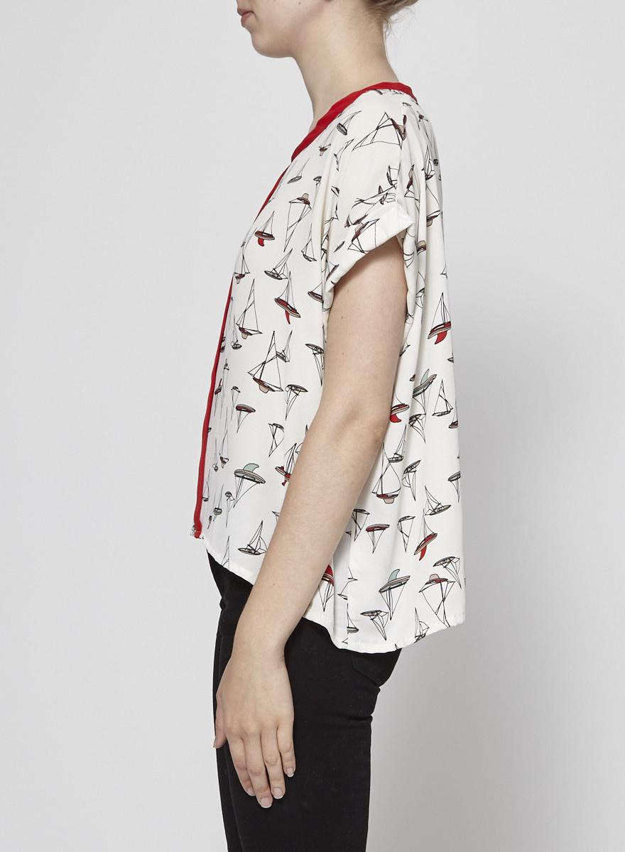 Eve Gravel Red Round-Neck Printed Shirt