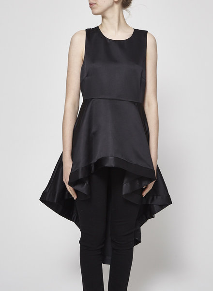 Pinko BLACK SATIN AND MESH ASYMMETRICAL TOP