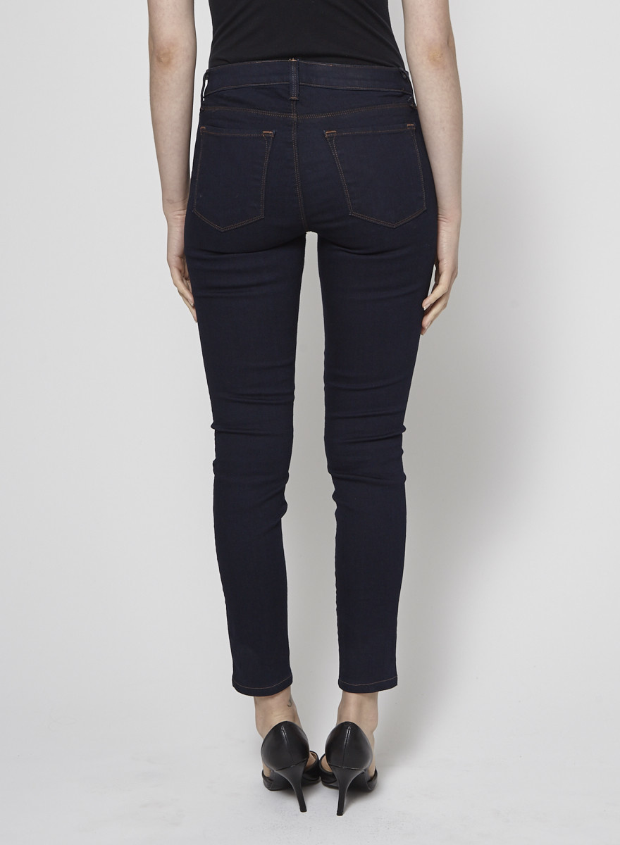 J Brand Dark Blue Skinny Jeans with Brown Seams