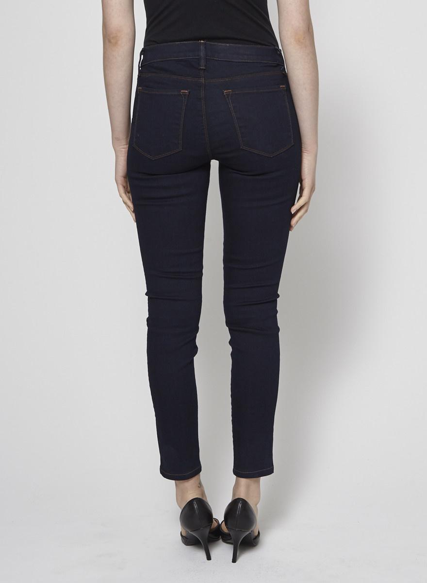 J Brand Jeans skinny bleu foncé coutures marron