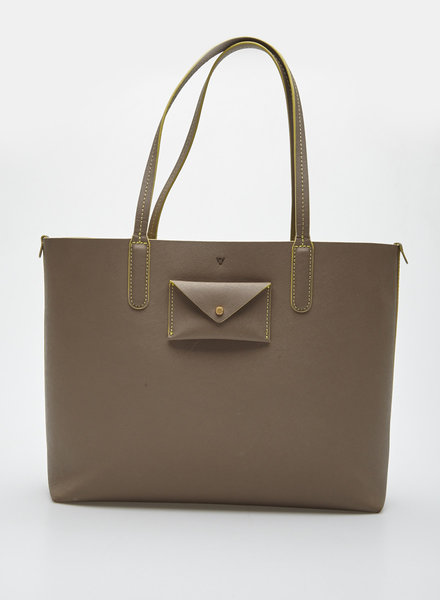 Marc by Marc Jacobs BEIGE COATED LEATHER TOTE WITH NEON YELLOW LINING