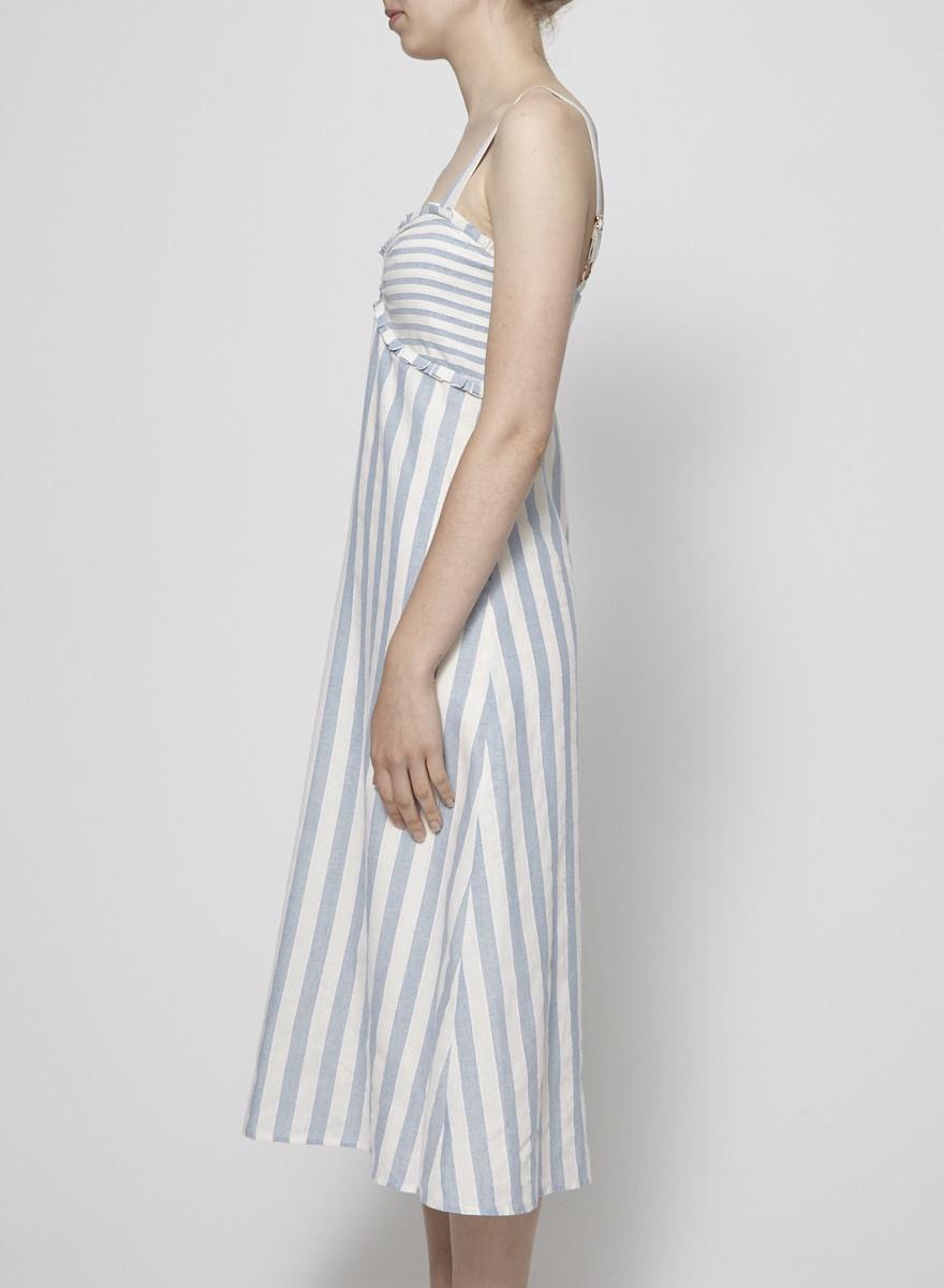Heartloom Robe longue rayée crème et bleu - Neuve
