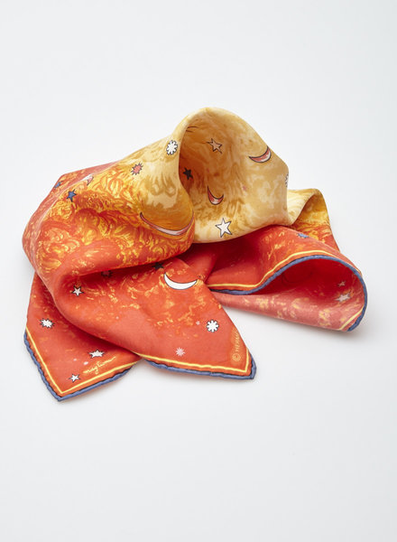 Hermès SMALL ORANGE SILK SCARF WITH MOONS