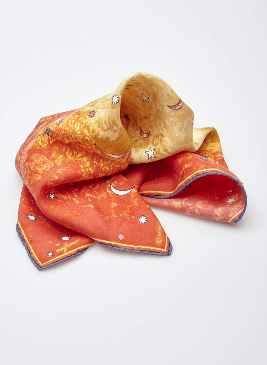 Hermès Small Orange Silk Scarf with Moons