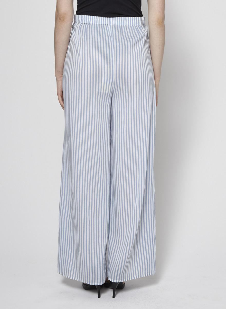 Elan Pantalon large à rayures et fentes
