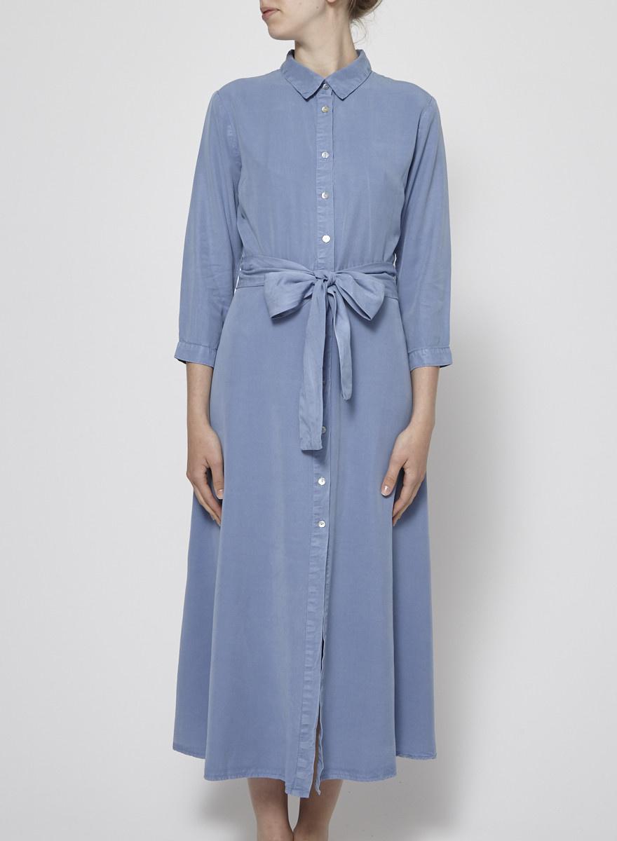 SEN Robe chemise bleue à ceinture