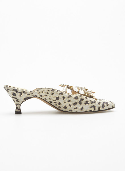 Manolo Blahnik LEOPARD EMBROIDERED JEWELRY MULES