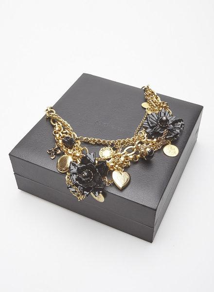 Dolce & Gabbana GOLDEN BLACK FLOWERS NECKLACE