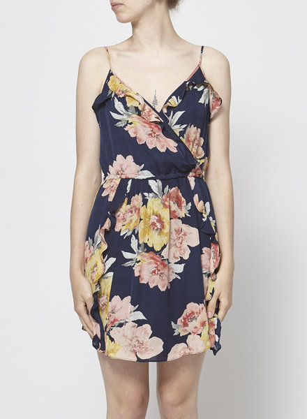 Joie BLUE DRESS WITH FLORAL PRINT