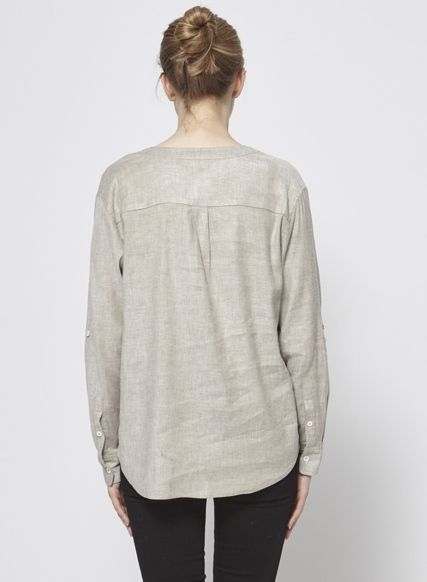 Theory Mix Linen Beige Top