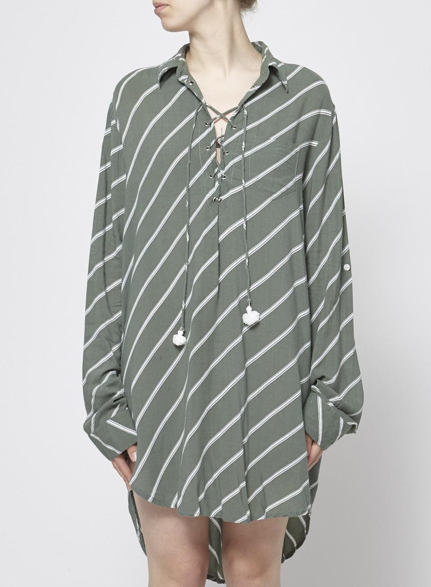 Faithfull The Brand White Stripes Green Dress