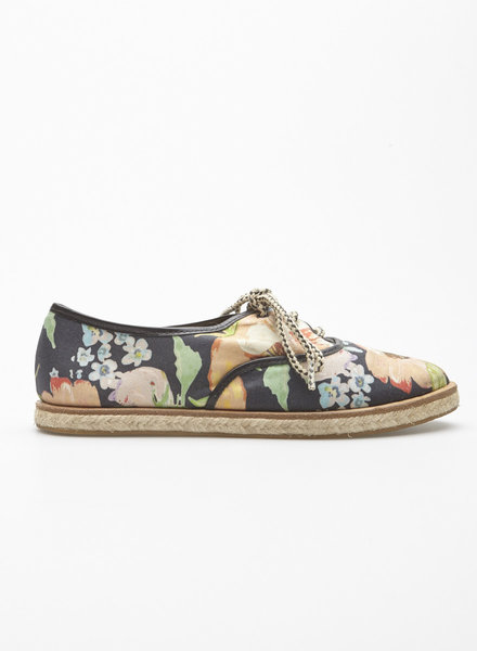 Loeffler Randall NAVY FLORAL FABRIC SHOES