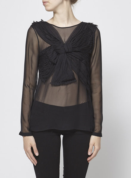 Robert Rodriguez BLACK SEE THROUGH BLOUSE WITH BOW ON FRONT