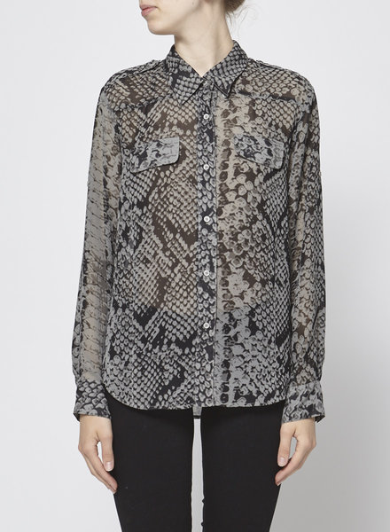 Central Park west BLACK AND GRAY PRINTED BLOUSE