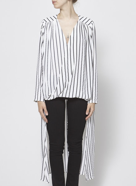 Pink Stitch WHITE AND BLACK STRIPED TOP