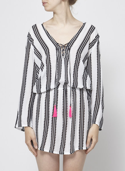 Cool Change WHITE STRIPED DRESS WITH FLUO DETAILS