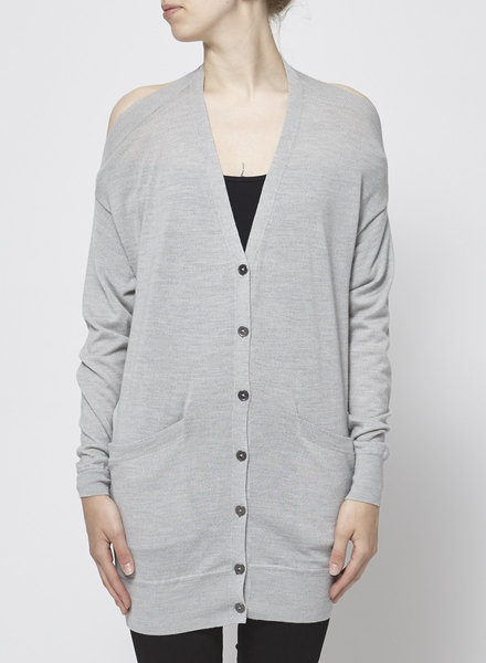 Alexander Wang LIGHT GRAY OPEN BACK CARDIGAN