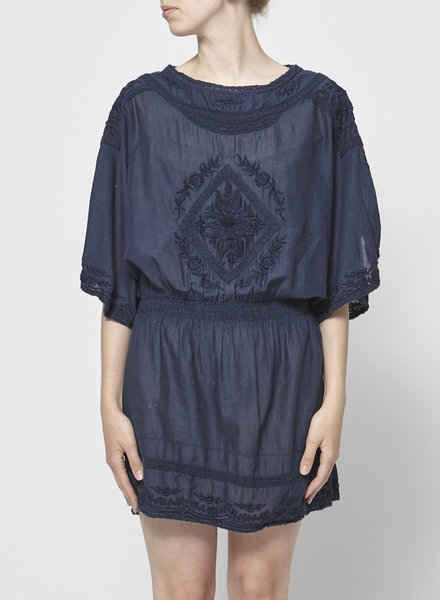 Star Mela NAVY BLUE DRESS WITH EMBROIDERED INSERTS