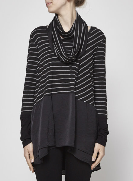 Melissa Nepton LOOSE BLACK AND GRAY TOP WITH SCARF