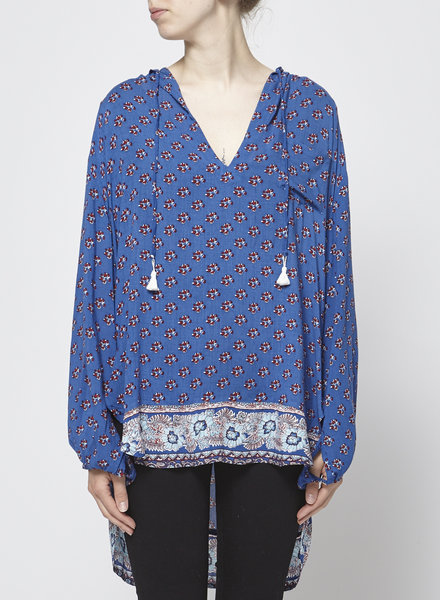 Faithfull The Brand BLUE TUNIC WITH RED FLOWERS