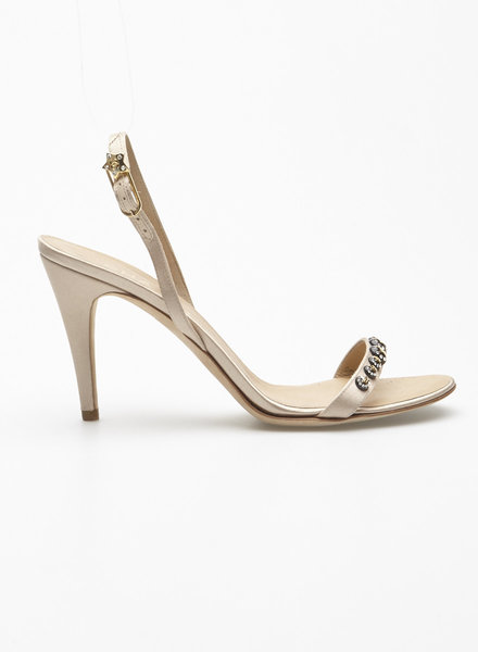 Chanel BEIGE SATIN MONOGRAMS  STARS JEWELRY SANDALS
