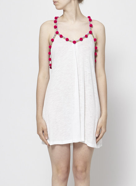 Pitusa WHITE DRESS WITH PINK POMPONS
