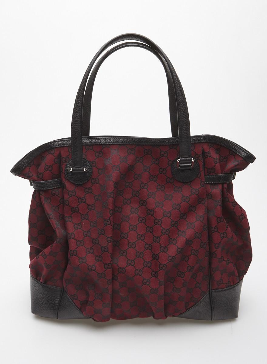 08b449e34ace0 Grand sac à main en toile bourgogne monogramme - Gucci - Deuxième ...