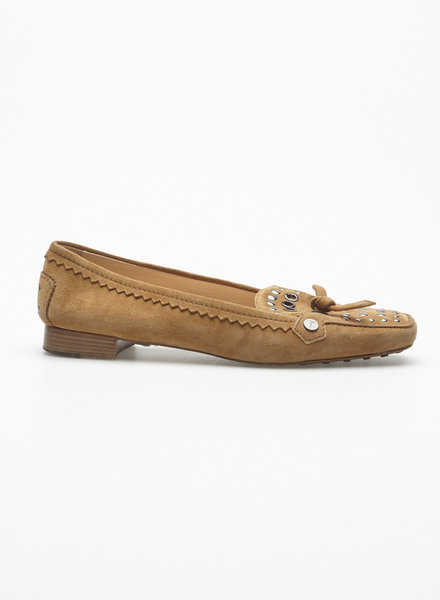 TOD'S STUDDED BROWN SUEDE LOAFERS