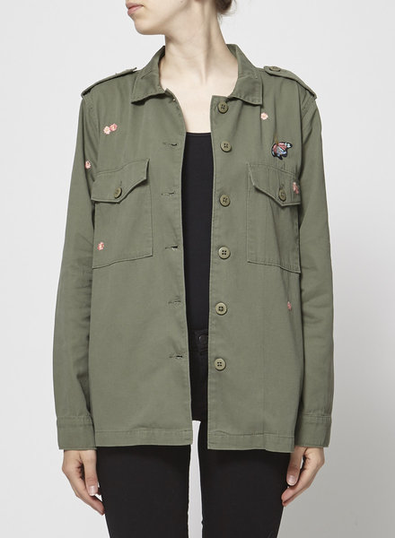 Sanctuary Clothing KHAKI JACKET WITH BUTTERFLY AND FLOWERS