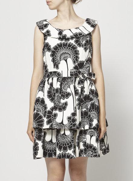 Florence Broadhurst x Kate Spade OFF-WHITE BLACK FLOWERS PRINTED DRESS