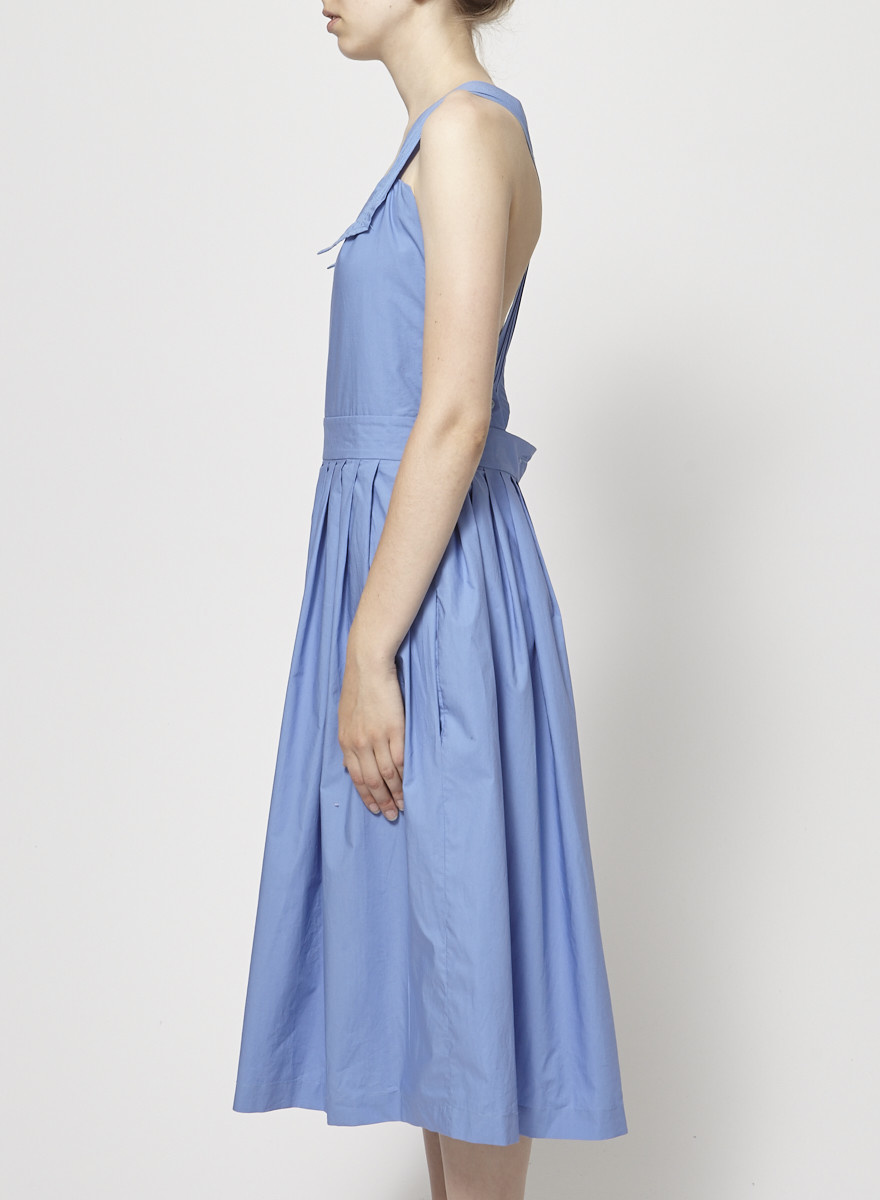Maison Kitsuné Blue Pleated Dress with Interchangeable Straps