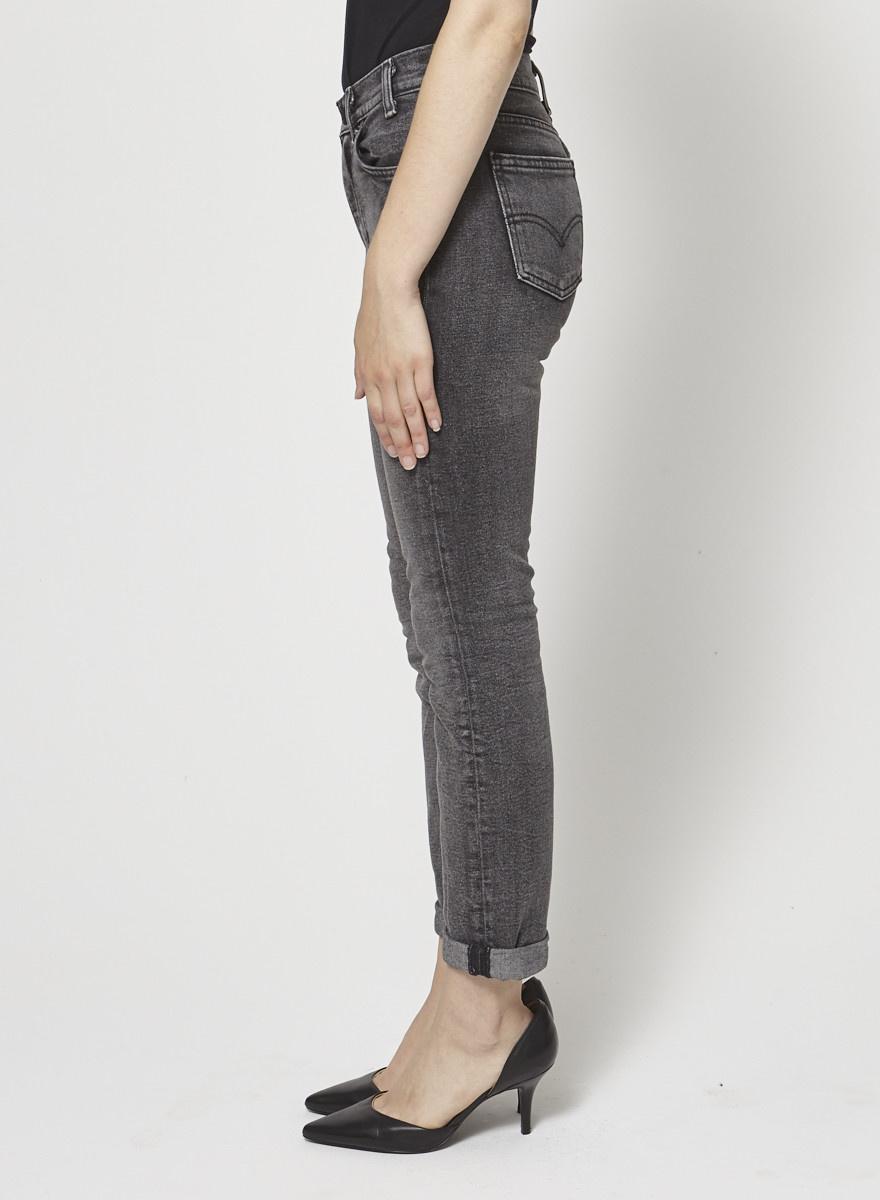 Levi's Jeans noir droit légèrement délavé