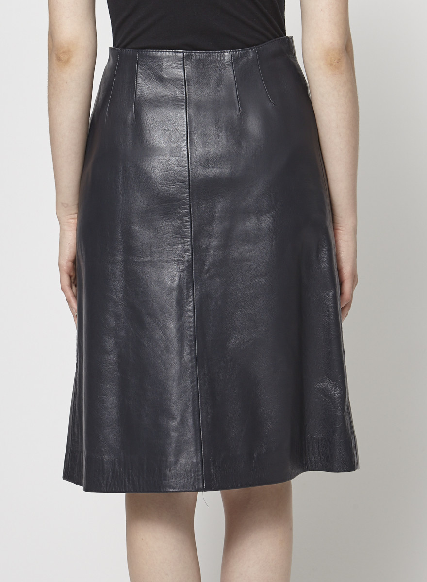 Loewe Dark Blue Leather Wrap Skirt